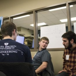 Engineering students work in teams to solve computer programming problems. Students Kent McDonell, Jacob Russell, Benjamin Morris and Josiah Jackson used a team collaboration in the compter programming competition.