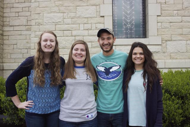 Haley Maguire, Shelby Lawson, Ethan Penner and Candous McGuire pictured left to right are the 2015 -2016 Assistant Resident Directors.