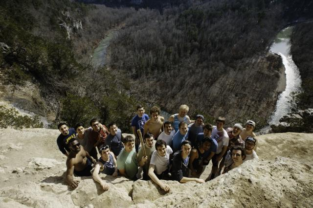 John Brown University's men hiked around the Buffalo River during this year's mens retreat.