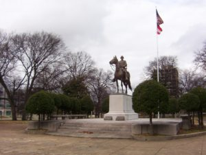 Courtesy of DoxTxob A statue of Nathan Bedford Forrest is located in a Park in Tennessee. He was a confederate general and mem- ber of the Ku Klux Klan. The Memphis city council is attempting to remove the statue, but its applications have been rejected by the Tennessee Historical Commission.