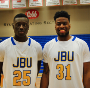 KARLA CONDADO/TheThreefoldAdvocate Sammy Egedi (left) and Brenton Toussaint (right) are the new men's JBU basketball players. Both are versatile and can play multiple positions.