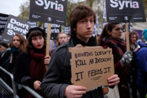Courtesy of ALISDARE HICKSON Syria's continued conflict has sparked protests across the world.