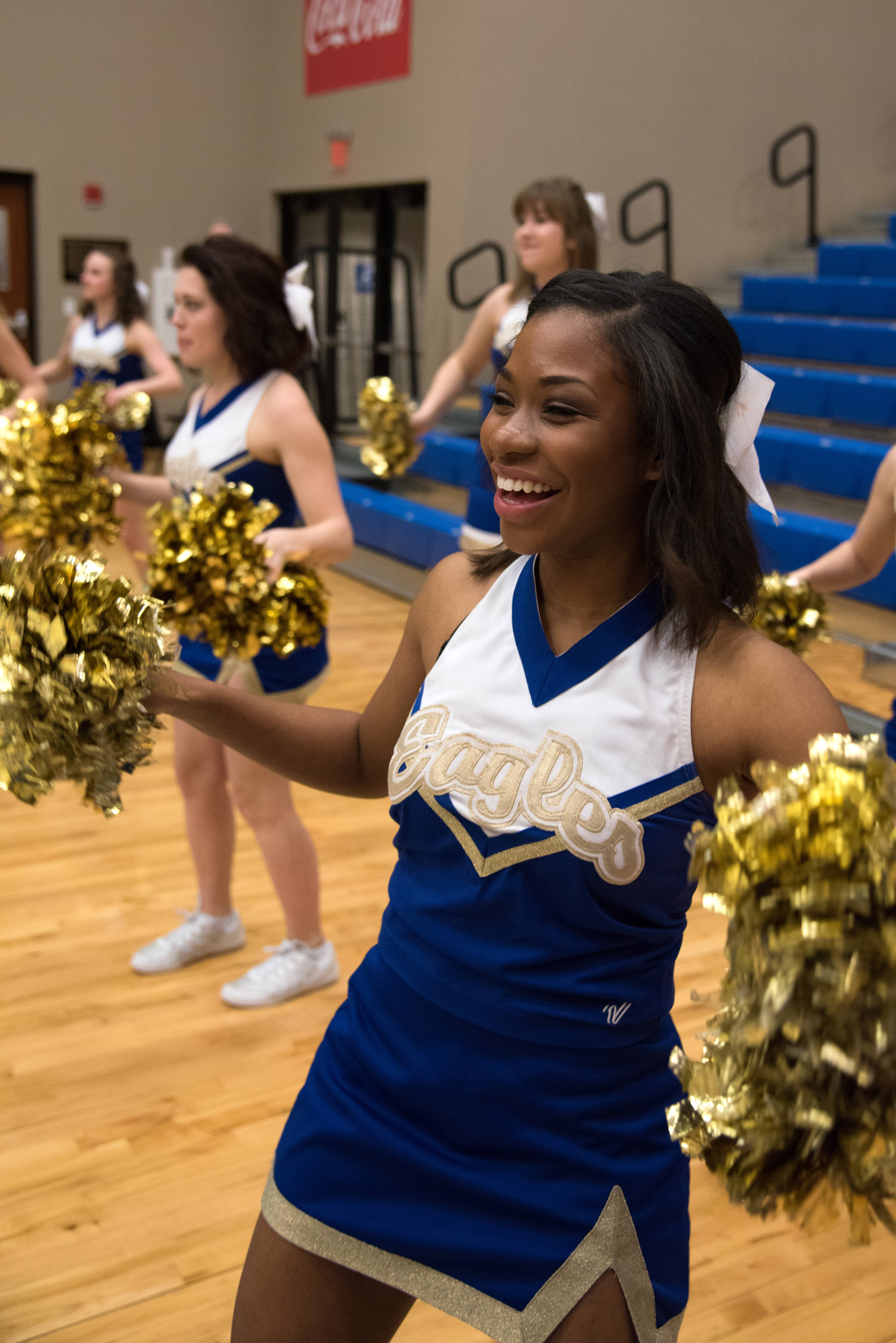 Cheer team engages kids with clinic